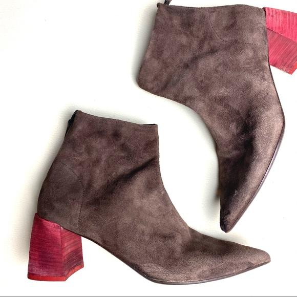 Marsèll Contrast Heel Suede Zip Ankle Boots